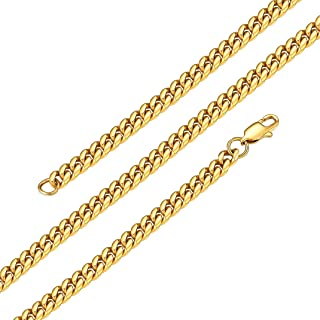 """6mm/10mm/14mm Wide Miami Cuban Chain for Men Women, Sprayed Protective Lacquer Than Other Chains Protect from Fading & Oxidized, Length 18""""- 30"""""""