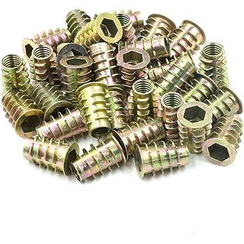 50pcs M6x19mm Threaded Insert Nuts Zinc Alloy Hexagonal M6 Internal Threads 19mm Length