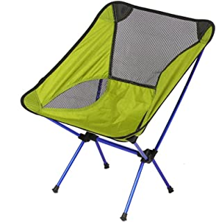 Folding Camping Chair - Collapsible Quad Chair with Breathable Lumbar Back Support Mesh, Carry Bag, Grip Feet - Ultralight Portable Chairs Perfect for Hiking Picnic Beach Camp Backpacking Festivals