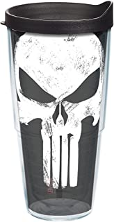 Tervis 1244037 Marvel-Punisher Insulated Tumbler with Wrap and Black Lid, 24oz, Clear