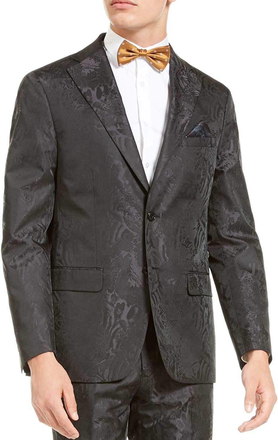 Tallia Mens Suit Blazer Large Tonal Animal Print Dinner Jacket Black L
