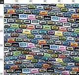 Kassette, 80Er Jahre, Musik Stoffe - Individuell Bedruckt