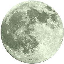 YWLINK 30cm Etiqueta Engomada De La Pared Fluorescente De La Luna Grande 3D Resplandor Desprendible En La Etiqueta Engomada Oscura