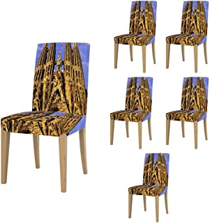 Super Fit Stretch Jacquard Removable Washable Short Dining Chair Covers Seat Slipcover for Christmas,Dining Room,Ceremony,Banquet Wedding Party 237.Europe, Spain, Barcelona