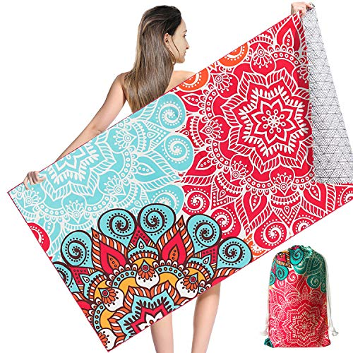 NovForth Microfiber Beach Towel Sand Free, Quick Dry Beach Towels Oversized for Adults, with a Carrying Bag, Super Absorbent Lightweight Compact Towel for Travel Pool Swimming Bath Camping