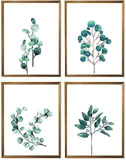 Australian Eucalyptus Leaf Print, Green Watercolor Art Poster, Botanical Plant, Living & Dining Room Gift - Set of 4-8x10 - Unframed