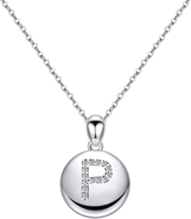 Turandoss Letter Initial Necklace for Women Girls, 14K White Gold Plated Round Disc Engraved Hammered CZ Initial Necklace Dainty Monogram Letter Necklace Kids Jewelry for Girls
