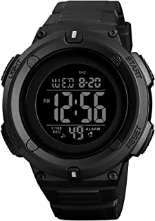 Men's Digital Sports Watch LED Screen Large Face Military Watches and 50m Waterproof Stopwatch Alarm Simple Army Watch - B...