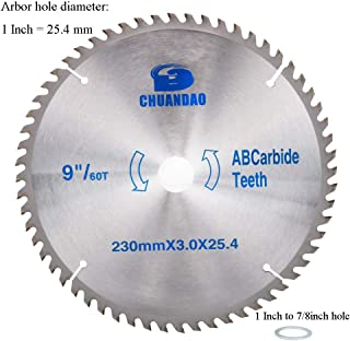 9 inch 60 Tooth Wood Cutting Disc Carbide Tipped Circular Saw Blade for Cutting Hard & Soft Wood with 1inch Arbor