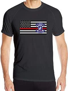 Men's Army 173rd Airborne Brigade Thin Red Line Flag Short Sleeve T-Shirt Sport Shirts Athletic Shirts