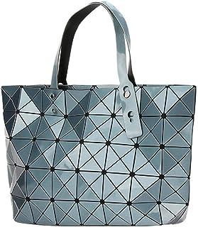 Kayers Sulliva Women's Fashion Geometric Lattice Tote Glossy PU Leather Shoulder Bag Top-handle Handbags