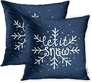 Emvency Set of 2 Throw Pillow Covers Decorative Cases Christmas Let It Snow Lettering Saying Phrase 20x20 Inch Cover Cushion Pillowcase Square Case Print