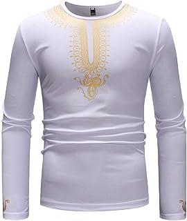 Jersey Para Hombres Negro Blanco Y Diseño En Blanco Tamaños Cómodos Empalme Informal Oro Africano Impreso Slim Fit Ropa To...