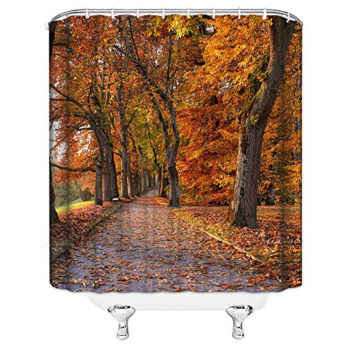 Fall Forest Shower Curtain Autumn Garden Scenic Trees Fallen Leaves on Road Nature Scenery Decor Orange Fabric Bathroom Curtains,Waterproof Polyester with Hooks 70x70 Inch
