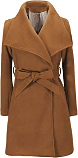 Womens Autumn and Winter Belted Long Trench Coat Wide Lapel Wrap Long Pea Overcoat