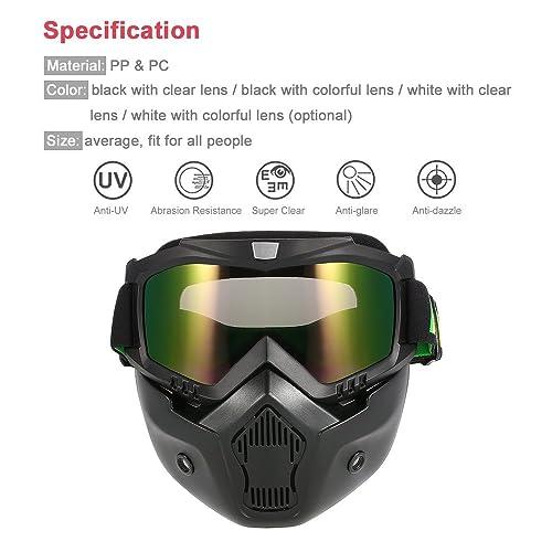 KKmoon Masque de Moto Lunettes Détachables et Filtre de Bouche pour le Casque de Visage Ouvert Snowboard de Ski Motocross