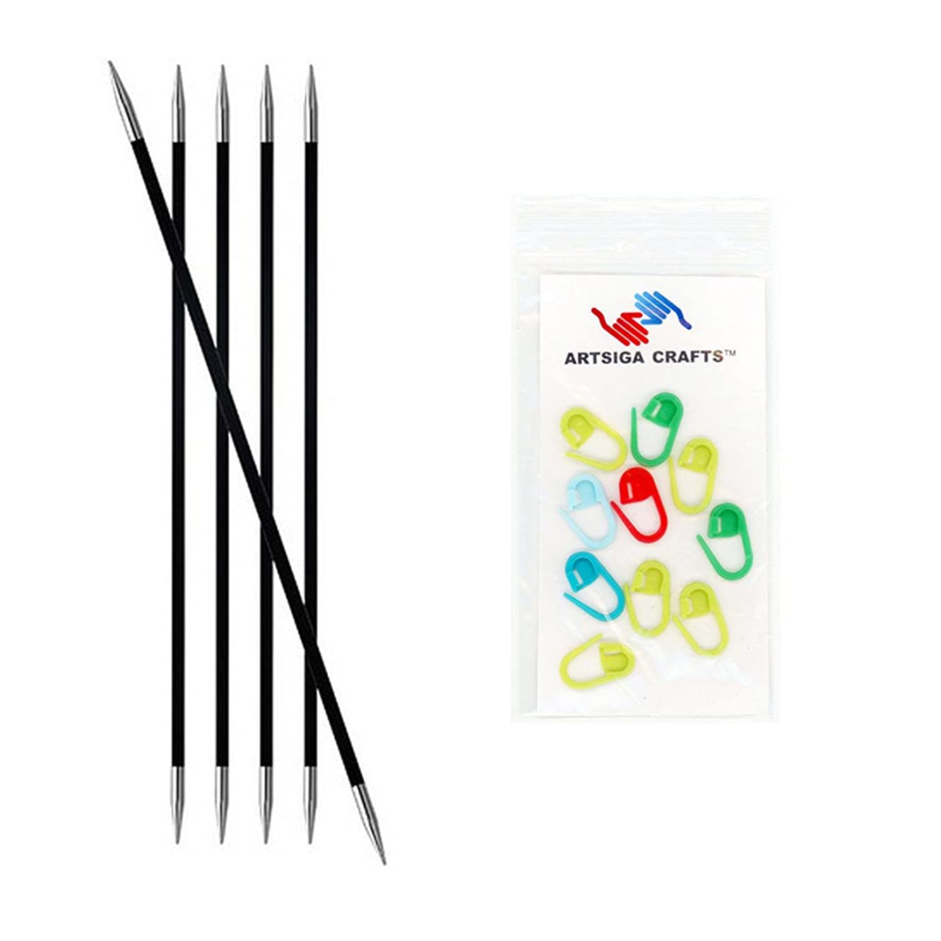 Knitter's Pride Karbonz Double Pointed 6-inch (15cm) Knitting Needles; Size US 00 (1.75mm) Bundle with 10 Artsiga Crafts Stitch Markers 110104