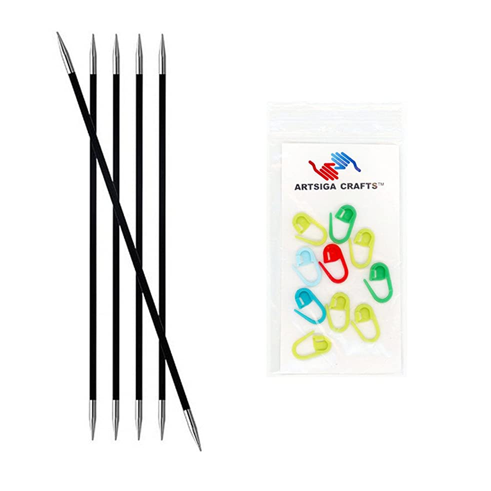 Knitter's Pride Karbonz Double Pointed 6-inch (15cm) Knitting Needles; Size US 1 (2.25mm) Bundle with 10 Artsiga Crafts Stitch Markers 110106