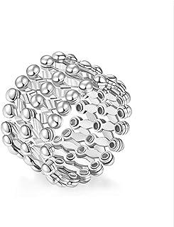 PURROMM Anillo de Dedo para Mujer, Pulsera de Plata esterlina torcida distorsionada S925,Platinum,Plainsilver