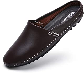 YiCeirnier رجل الخال كلوج شباشب تنفس اللكمة الجلود سهلة الارتداء أحذية عادية بدون كعب
