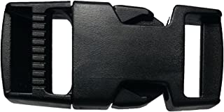 Plastic Buckle 2 Set 4pc Military Grade Quick Pinch Side Release 1 Inch Single Adjustable (Black)
