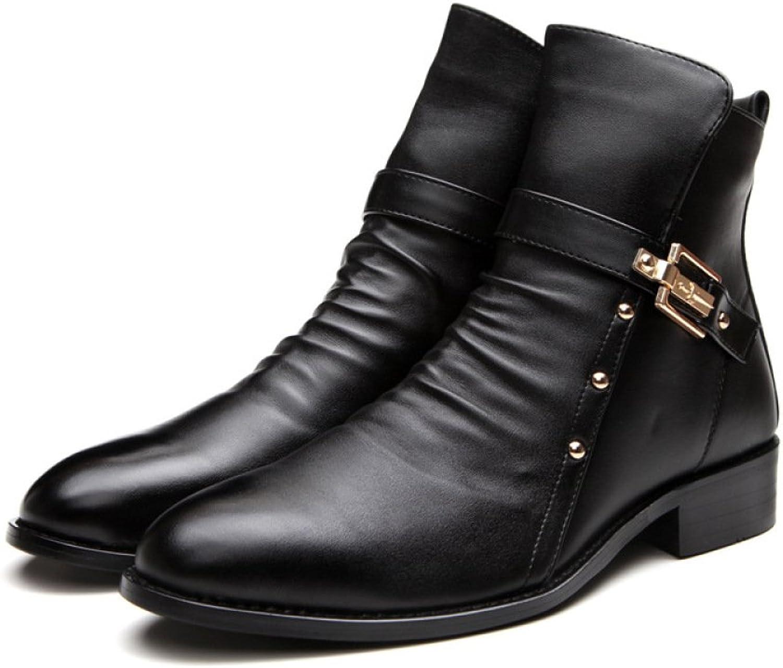 DHFUD Frühling Lederschuhe Korean British Mode Lssig Stiefel