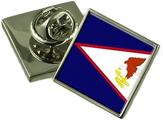 Select Gifts Samoa Americana Bandera Insignia de Solapa de Plata Maciza 925
