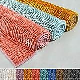 casa pura Chenille Badematte Coral | Zarte Schimmernde Farben | schadstoffgeprüft | Badezimmer-Teppich mit Massage-Effekt | Waschbarer Badvorleger (70x120 cm, hell-blau)