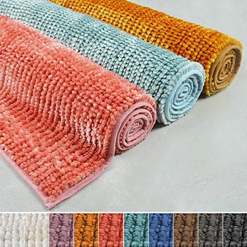 casa pura Chenille Badematte Coral | Zarte Schimmernde Farben | schadstoffgeprüft | Badezimmer-Teppich mit Massage-Effekt | Waschbarer Badvorleger (70x120 cm, Bronze)