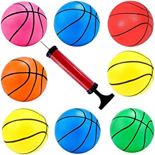 Hercugifts 6.3 Inches Toy Basketballs 8 Balls Assortment with Pump Coloful Kids Mini Toy Rubber Basketball for Kids, Teena...