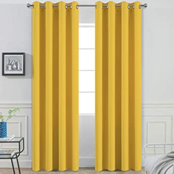 Yakamok Mustard Yellow Room Darkening Grommet Window Drapes Thermal Insulated Light Blocking Blackout Curtains for Bedroom(52Wx84L,2 Panels)