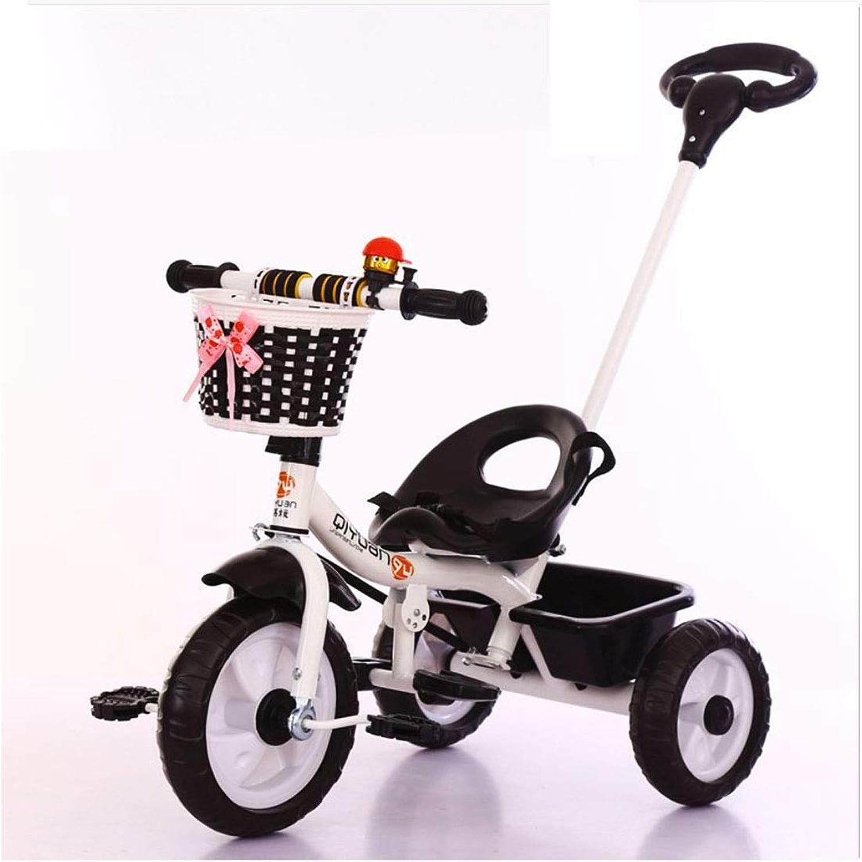 MUYU 2-in-1-Kinderdreirad Klappbares Pedal Kinderwagen Geeignet für Kinder von 1-6 Jahren,schwarz2