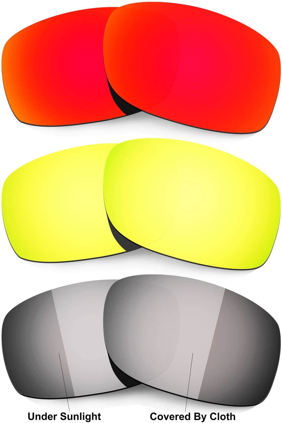 HKUCO Mens Replacement Lenses for Oakley Fives Squared Sunglasses Red/24k Gold/Transition/Photochromic