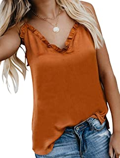 Women's V-Neck Ruffle Camisole Button Down Shirt Adjustable Spaghetti Strap Tank Top