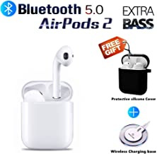 Bluetooth Headphones Wireless Earbuds with Wireless Charging Box Built-in mic in-Ear Extra BASS Stereo Earbud for Android/iPhone airpod and Apple airpods 2/airpods Sports Waterproof Earphones (White)