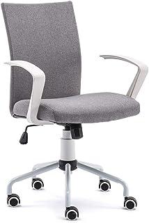 オフィスチェアデスクチェアパソコンチェア椅子イスグレイ高さ調節可能360度回転スタッフチェア白いアームレスト付き(取り外す可能)