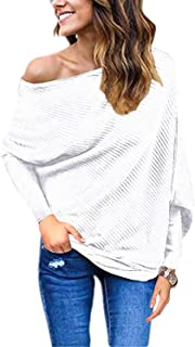 Women's Off Shoulder Batwing Sleeve Loose Pullover Sweater Knit Jumper Oversized Tunics Top