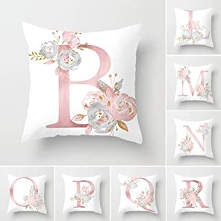 Tillskuch Throw Pillow Covers 26 Decorative English Letters Floral Pillowcases Velvet Soft Cushion Cover White Pillow Protectors for Sofa Bedding Car and Home Decor (18x18 / 45x45cm, Letter B)
