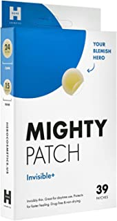 Mighty Patch Invisible Hydrocolloid Acne Pimple Patch Ultra Thin Spot Treatment (39 count) for Face and Day, Vegan, Cruelt...