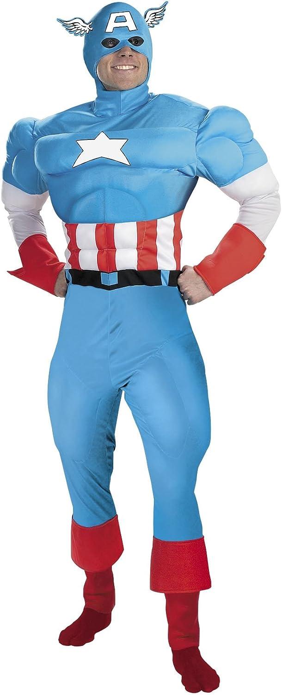 Cesar Marvel B465003 Captain America Muscle Fancy Dress Costume Size 58 60 cm