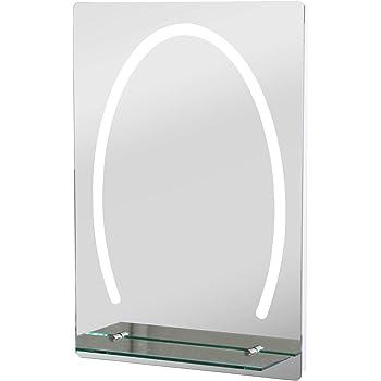 Badezimmerspiegel Mit Beleuchtung Und Ablage.Kleankin Led Badezimmerspiegel Badspiegel Mit Beleuchtung Glas Ablage 30w 70x50cm Amazon De Kuche Haushalt