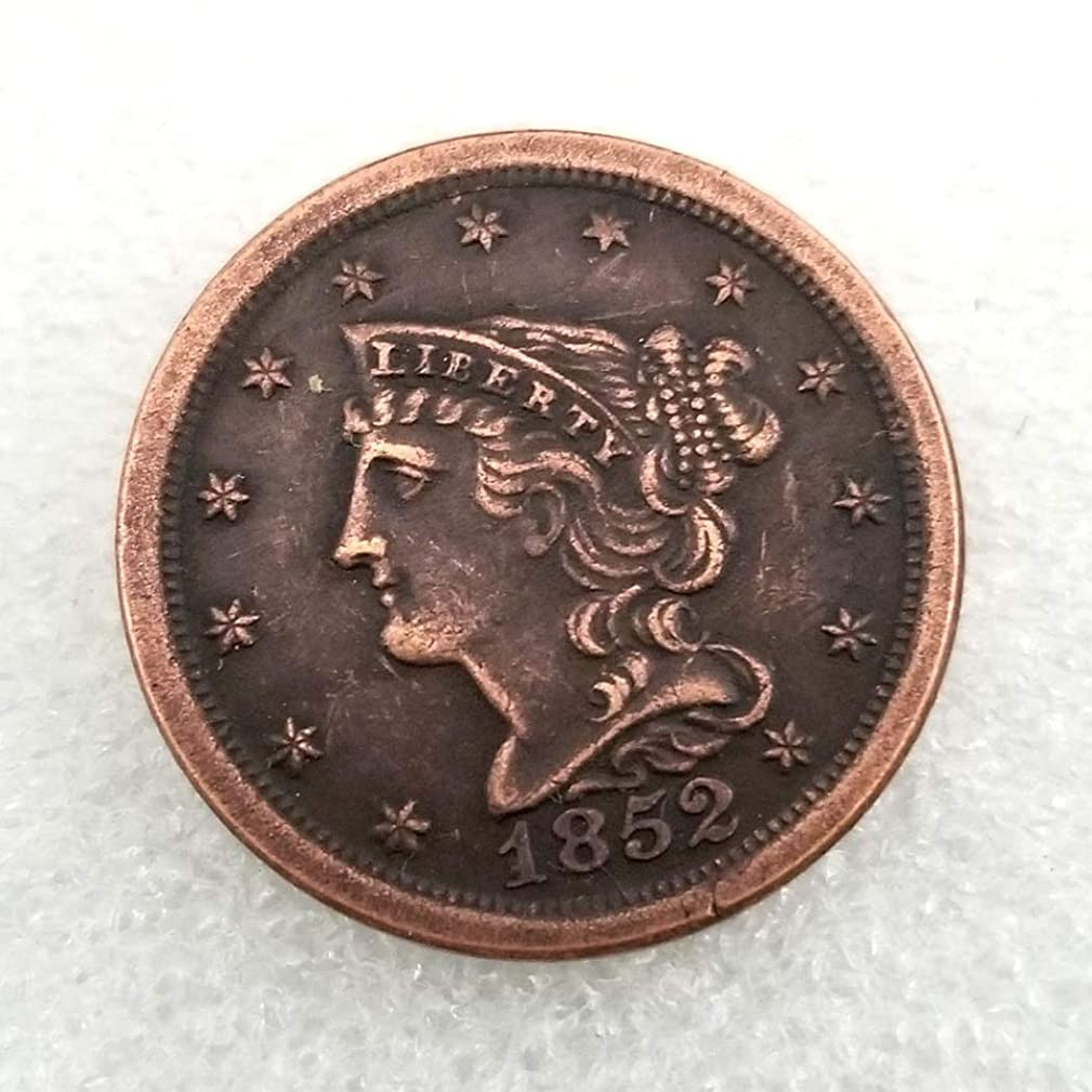 MarshLing 1852 Antique US Liberty Half-Cent Coin - Great American Commemorative Old Coins - USA Uncirculated Morgan Dollars-Discover History of US Coins Perfect Quality