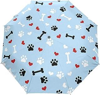 Cute Cat Dog Footprint Puppy Paw Blue Auto Open Umbrella Sun Rain Umbrella Anti UV Folding Compact Automatic Paraguas