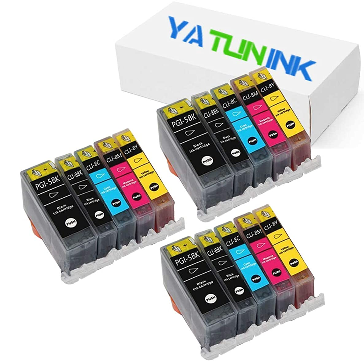 YATUNINK Compatible Ink Cartridge Replacement for Canon PGI-5BK CLI-8BK CLI-8C CLI-8M CLI-8Y Compatible Inkjet Cartridge with Chip for Pixma MP500 MP530 MP600 MP800 (15 Pack)