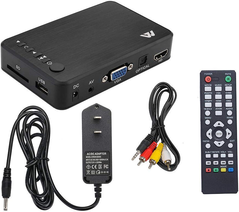 Kimanli Mini Full 1080P HD Multi Media Player TV Box 3 Outputs HDMI VGA AV USB & SD Card
