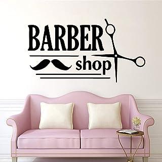 TYLPK Nuevo salón de belleza pegatina de pared peluquería calcomanía de pared vinilo autoadhesivo impermeable arte de la pared mural habitación papel pintado decorativo rosa XL 58 cm x 106 cm