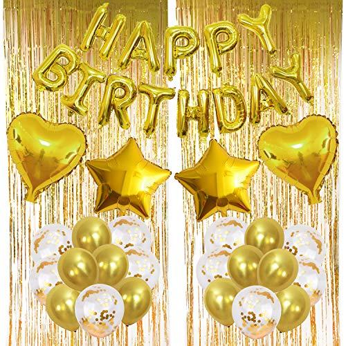 Zerodeco Geburtstagsfeier Dekoration, Gold Happy Birthday Buchstaben Ballons Folienvorhänge Mylarfolie Stern und Herzform Ballons Konfetti Luftballons - Perfekte Geburtstags Party Deko Zubehör