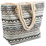 AIREE FAIREE Bolsa de playa grande del verano para mujer 47 x 35 x 15 cms - Patrón azteca (Negro)