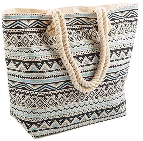 Strandtas Groot Voor Vrouwen Zomer Canvas Tas Touwen Handvat Aztec Patroon Airee Fairee