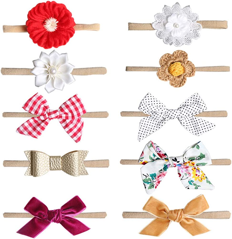 Baby Girls Headbands and Bows- Newborn Hair Accessories for 0-6 Months Infants 10 Pack